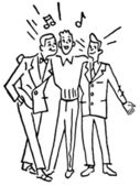 A black and white version of a group of three men singing togeth — Stock Photo