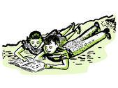 A vintage illustration of two children doing homework together — Stock Photo