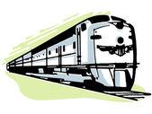 A vintage illustration of a speeding train — Stock Photo
