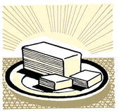 An illustration of a slab of cut butter — Stock Photo