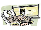 A vintage illustration of on a train — Stock Photo