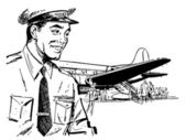 A black and white version of a vintage illustration of a pilot a — Stock Photo