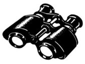 A black and white version of a vintage pair of binoculars — Stock Photo