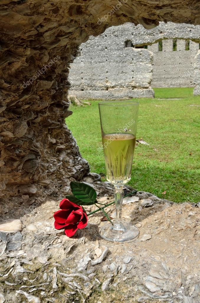 A glass of bubbly and a red rose summons romance to the tabby ruins in Southeast Georgia — Stock Photo #12526518