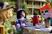 Tea party scarecrows — Stock Photo