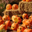 Stock Photo: Jack-o-lanterns on display