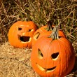 Jack-o-lanterns displayed on hay — Stock Photo