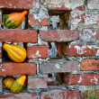 Gourds adorn brick work — Stock Photo