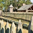 Perimeter stockade fence at Fort King George Historic Site - Stock Photo