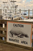 Warning of manatees at Florida marina — Stock Photo