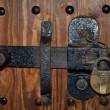 Antique hasp and lock — Stock Photo