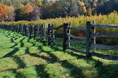 Morning shadows along a country fence — Stock Photo