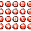Red aqua-style glossy phone icon buttons set Stock Photo: — Stock Photo #46319637