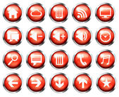 Red aqua-style glossy phone icon buttons set  Stock Photo: — Stock Photo