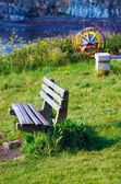 Wooden Coastal Viewpoint Bench — Stock Photo