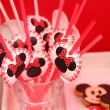 Drinking straws with mickey mouse emblem — Stock Photo