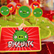 Stock Photo: Biscuits with angry birds cartoons