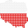 Royalty-Free Stock Vectorafbeeldingen: Shape of Poland filled with hearts