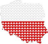 Shape of Poland filled with hearts — Stock Vector