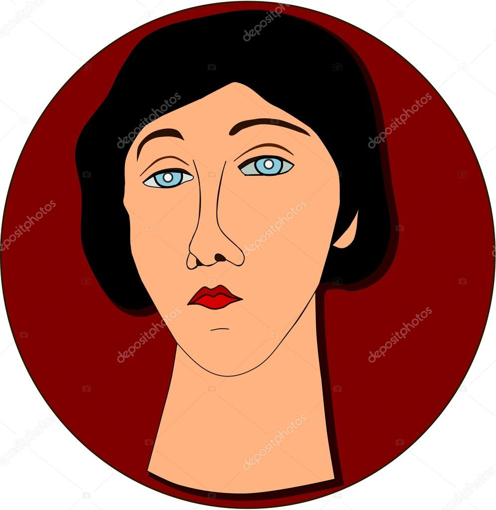 Portrait of sad woman in vintage style.  Stock Vector #12106105