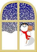 Snowman and window — Stock Vector
