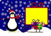 Penguin with special offer — Stock Vector