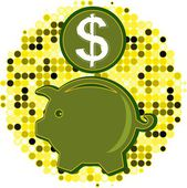 Vector illustration of piggy-bank with dollar — Stock Vector
