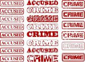 Set of different vectorized stamps with words ACCUSED and CRIME. — Stok Vektör