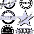 Rubber stamp with the text great job, won, award, nice work, the winner and awesome written inside the stamp — Stock Vector