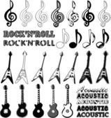 Music elements in different styles - guitars, notes and words: rock'n'roll and acoustic. — Stock Vector