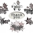 "Acknowledgments with ""thank you"" words — Stock Vector"