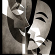 Theatre poster template in simple classic style with happy and sad mask. — Stockfoto
