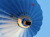 Blue hot air Balloon from the bottom — Stock Photo