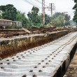 Stock Photo: Repairing of railway sleepers change to concrete sleepers.