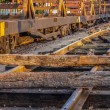Stock Photo: Repairing of railway sleepers change to concrete sleepers at t