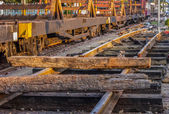 Repairing of railway sleepers change to concrete sleepers at t — Stock Photo