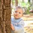 Baby boy standing near tree in autumn park — Stock Photo