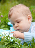 Baby boy touching grass and thinking — ストック写真