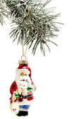 Christmas tree and toys isolated on white background — 图库照片