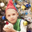 Boy with a hamster .Christmas — Stock Photo