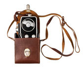 Retro film camera isolated on white — Photo