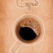 Fresh black coffee in a white cup on paper texture — Stock Photo #12750128