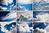 Set of nine cloudy sky — Stock Photo