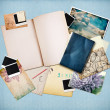 Vintage background with old paper, cards and instant photos — Stock Photo