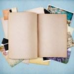 en blanco viejo cuaderno con textura de papel azul vintage — Foto de Stock