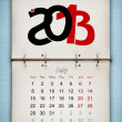 July 2013 Calendar, open old notepad on blue paper — Stock Photo