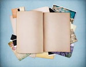Blank old textured notebook on blue vintage paper — Stock Photo