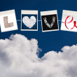 Stock Photo: Love word made of four different objects, valentine's day concep