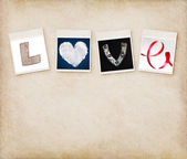Love word made of four different objects, valentine's day concep — Foto de Stock