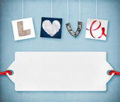 Love word made of four different objects, valentine's day concept, free space for your text — Stock Photo